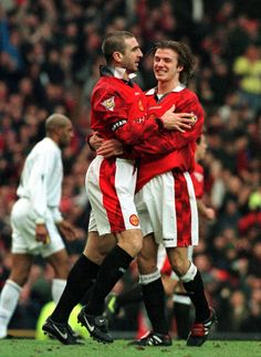 David Beckham and King Eric on Manchester United Manchester City, David Beckham Manchester United, Manchester United Football, Tottenham Hotspur, Newcastle, Chelsea, Pier Paolo Pasolini, Eric Cantona, Premier League Champions
