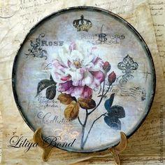 """Тарела-ретро """"Rose""""с худож.дорисовкой акрил.красками - панно,роза,посуда"""