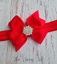 Red Bow Headband by TheSassyTot, $7.95