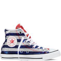 Converse - Chuck Taylor All Star Americana Sequin - Silver/Red/Blue - Hi Top
