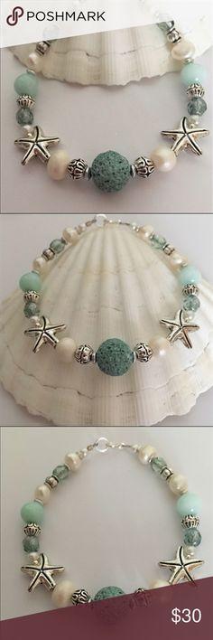 Essential Oil Beach Bracelet ☀️ ✨ Gorgeous Artisan beaded Bracelet with Sea Green Lava Stone, Freshw Beach Bracelets, Beach Jewelry, Jewelry Bracelets, Necklaces, Colorful Bracelets, Ankle Bracelets, Jewelry Crafts, Handmade Jewelry, Jewelry Ideas