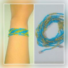 Long green and blue seed bead bracelet.  Price - Rs 120/-