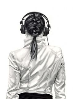 Charcoal Drawings by Yanni Floros Girls with Headphones | Design.org