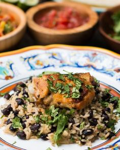 Servings: 4INGREDIENTS4 chicken thighs1 cup white rice1½ cups chicken broth2 tablespoons olive oil½ onion, diced4 cloves garlic, minced½ cilantro, chopped1 can black beans, drained1 limeSalt, to tastePepper, to tastePREPARATION1. Season both sides of the chicken thighs with salt and pepper.2. In a large skillet, add the olive oil and place the chicken skin side down for about 5 minutes or until skin is golden brown. Flip the chicken and cook for another 3 minutes.3. Take the chicken out and…