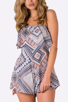 Floral Print Backless Strappy Beach Playsuit - US$19.95 -YOINS
