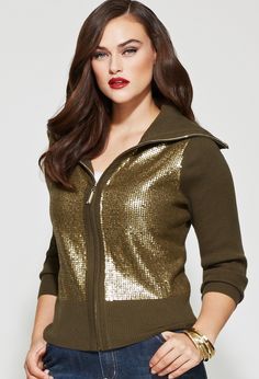 Plus Size Sequined Zip Front Cardigan | Plus Size Sweaters & Cardigans | Avenue $68.00