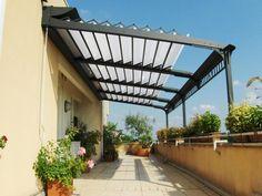 Easy to Make Retractable Pergola Roof : Retractable Roof Pergola DIY. Toile Pergola, Vinyl Pergola, Pergola Carport, Retractable Pergola, Building A Pergola, Modern Pergola, Pergola Canopy, Cheap Pergola, Outdoor Pergola