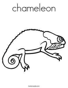 chameleon coloring page twisty noodle - Chameleon Coloring Pages Print