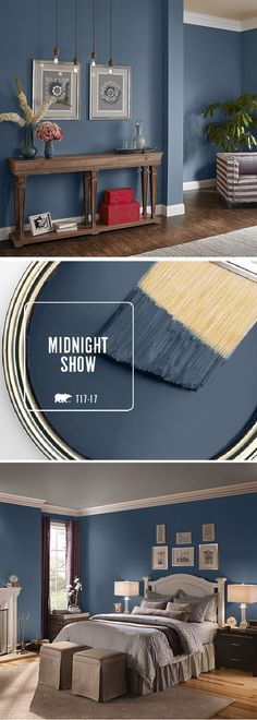 Fall in love with BEHRs color of the month: Midnight Show. This deep moody blue can be used in a variety of spaces throughout your home. Try pairing it with bright white accents or lightly-colored neutral furniture to compliment the dark undertones in My New Room, New Wall, Wall Tv, Wood Wall, House Painting, Painting Walls, Home Painting Ideas, Interior Painting, Painting Furniture