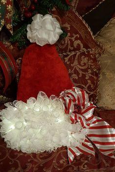 Deco mesh Santa hat wreath, Christmas Wreath - Santa Hat, Santa Deco Mesh Wreath Hat, by WEEDsByRose on Etsy