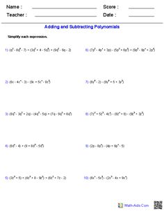 Worksheet Adding And Subtracting Polynomials Worksheet worksheets on pinterest adding and subtracting polynomials worksheets