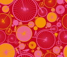 bicycle or grapefruit ? vélo ou pamplemousse ? - cassiopee - Spoonflower