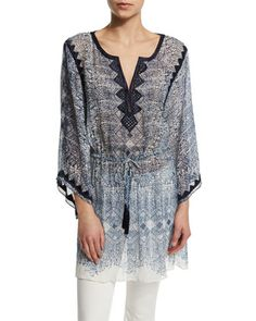 Swana Drawstring-Waist Embroidered Top, Blue Opal by Calypso St. Barth at Neiman Marcus.