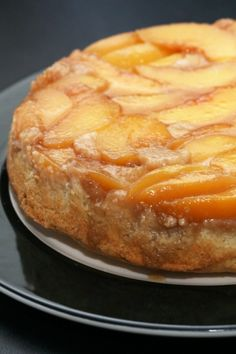 """Peach upside-down cake that is """"baked"""" on a charcoal grill!"""