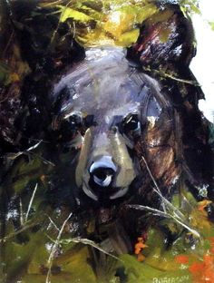 A little BLACK BEAR CUB is peaking through the trees. Mary Roberson has made this cub stand out with her use of green shading in the leaves against the blackness of the bear.This print is available unframed in an image size of Black Bear Cub, Bear Paintings, Love Bear, Bear Art, Bear Cubs, Wildlife Art, Beautiful Artwork, Rottweiler, Spirit Animal