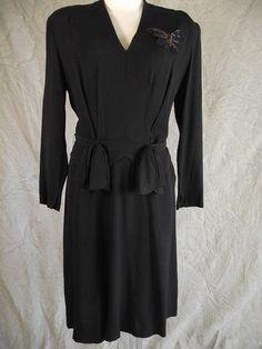 #VCAT Goodies! WOW Vintage 40s Black Crepe Hip Detail Sequin Iridescent Butterfly Dress L @eBay! http://r.ebay.com/lj65LS