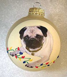 Original art hand painted Pug Christmas ornament