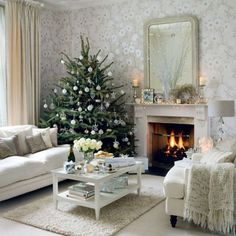 4 Connected Cool Ideas: Shabby Chic Living Room Colors shabby chic crafts to make.Shabby Chic Sofa Grain Sack shabby chic wall decor tips.Shabby Chic White Old Windows. Christmas Interiors, Christmas Living Rooms, Christmas Room, Noel Christmas, White Christmas, Elegant Christmas, Christmas Lounge, Apartment Christmas, Christmas Design
