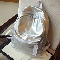 Lovely Simple Color-Block NEW 2015 Casual PU Leather High-Quality Backpack 3 Colors