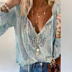 Summer Women Blouses Elegant V Neck Bottoming Long-sleeved Pink Shirt Lace Hook Flower Hollow Casual Shirts Blouse Plus Size 3XL Look Fashion, Fashion Outfits, Clothing Patterns, Clothing Ideas, Blouses For Women, Casual Shirts, Criss Cross, Lace, Comfy Clothes