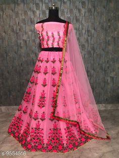 Lehengas Women's Lehenga Choli Topwear Fabric: Silk Bottomwear Fabric: Net Dupatta Fabric: Net Set type: Choli And Dupatta Top Print or Pattern Type: Embroidered Bottom Print or Pattern Type: Embroidered Dupatta Print or Pattern Type: Solid Sizes:  Semi Stitched (Lehenga Waist Size: 44 in Lehenga Length Size: 42 in Duppatta Length Size: 2.4 m) Country of Origin: India Sizes Available: Un Stitched, Free Size, Semi Stitched   Catalog Rating: ★4.3 (509)  Catalog Name: Free Mask Charvi Attractive Women Lehenga CatalogID_1685354 C74-SC1005 Code: 386-9554516-5481