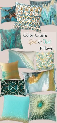 Turquoise and Gold throw pillows