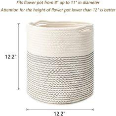 12 inch Woven Cotton Planter Pots Planters Plants Hanger Rope | Etsy Metal Wall Planters, Indoor Planters, Planter Pots, Plant Basket, Rope Basket, Storage Baskets, Storage Organization, 12 Inch Weave, Ceramic Pots