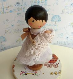 Christening Baby Shower Keepsake Wooden Clothespin Doll Topper