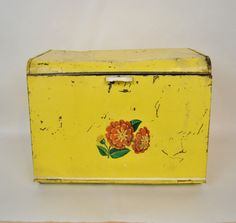 Extra Large Bread Box Old Farmhouse 1940s Metal by antiquarium