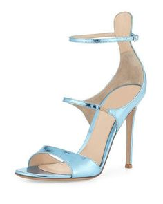 Gianvito Rossi for Mary Katrantzou Juliet Strappy Metallic Sandal, Baby Blue Stretch Leather Shoes, How To Stretch Shoes, Leather Sandals, Strappy Sandals Heels, Blue Sandals, Strap Sandals, Baby Blue Shoes, Rossi Shoes, Monk Strap Shoes