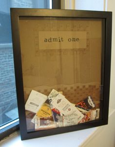 ticket box to display and store all the tickets you've kept from movies to sports games to concerts