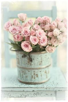 Explored ~Thank you ~ Pretty pink roses in shabby chic container. Cute centerpiece for tea party.Pretty pink roses in shabby chic container. Cute centerpiece for tea party. Deco Floral, Arte Floral, My Flower, Pretty Flowers, Beautiful Roses, Pink Flowers, Vintage Flowers, Fresh Flowers, Simply Beautiful