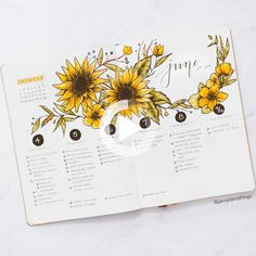 Its been a popular theme during summer! So we have forund 43 sunny stunning sunflower bullet journal layout ideas and spreads to show you and #bulletjournal Bullet Journal 2019, Bullet Journal How To Start A, Bullet Journal Writing, Bullet Journal Inspo, Bullet Journal Spread, Bullet Journal Layout, Bullet Journal Ideas Pages, Journal Pages, Birthday Bullet Journal