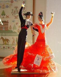 Wedding cake topper Flamenco dolls
