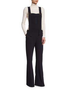 1f7f51f0b76b9 See by Chloe Stretch Crepe Overalls   Ribbed Turtleneck Sweater