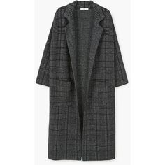 Long cotton coat ($120) ❤ liked on Polyvore featuring outerwear, coats, checkered coat, cotton long coat, long sleeve coat, checked coat and long coat