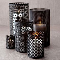 "Use decorative aluminum sheets from Home Depot to make your own ""Moroccan style"" lanterns. Cut, sand edges so they don't scratch, use wire to hold them together. Use mat spray paint in any colour you like to finish off the lanterns. by Lovelylovely Diy Casa, Ideias Diy, Moroccan Style, Home And Deco, Diy Candles, Diy Candle Luminaries, Black Candles, Beeswax Candles, My New Room"