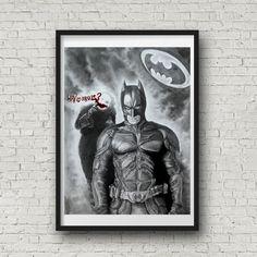 Batman art  Wall Art Super Hero Wall Decor Art Home by Artbypierre