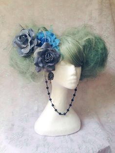 Mad Hatters Tea Party Unique Mint Green Floral Wig With Victorian Cameo Detail