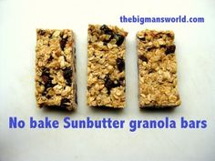 No bake Sunbutter granola bars - The Big Man's World Makes- 10 bars Ingredients 2 cups rolled oats grams) cup Sunbutter cup brown rice syrup (can sub for honey) 1 T oil of choice or butter (I used coconut oil) cup dried fruit of choice- r Raw Food Recipes, Dessert Recipes, Desserts, Yummy Snacks, Yummy Food, Cinnamon Cookies, Granola Bars, Rice Krispies, Chocolate Recipes