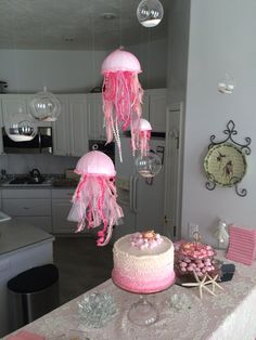 Pink & Lace, Under the Sea Baby Shower, With Jelly Fish and Clams, Pink Ombre cake