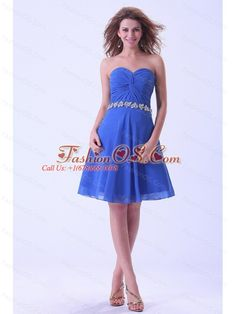 Royal Blue Bridemaid Dress With Sweetheart Appliques Knee-length Chiffon- $106.45  http://www.fashionos.com  sexy and shining when you wear this mini length dress!This short prom gown is made of a great chiffon fabric and features a strapless bodice and a sweetheart neckline. The midsection of the dress is cinched with splendid ruchings. The modest sweetheart with butterfly-shaped fabric together with appliques on the waist.