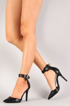 Breckelle Isabel-01 Pointy Toe Ankle Strap Stiletto Pump