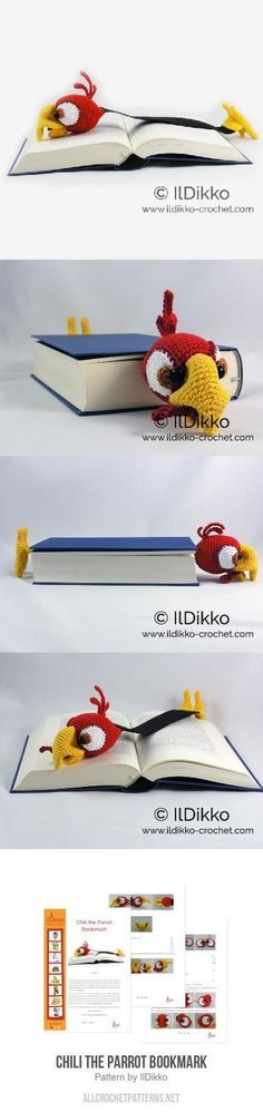 Chili the Parrot Bookmark crochet pattern - this is such a cute and thoughtful gift for that book lover in your life!