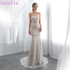 83e6815fe4 2019 New Strapless Vintage Lace Champagne Mermaid Wedding Dress With C –  Azongalbridal Wedding Dress Brands