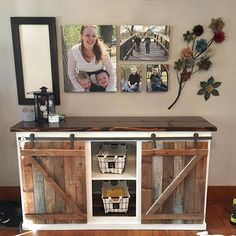 DIY Farmhouse Sliding Door Console from plan http://ana-white.com/2015/08/free_plans/grandy-sliding-door-console