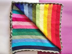 Rainbow Crochet Blanket with Bobble Trim, link to Etsy, not pattern, but would be easy enough to recreate