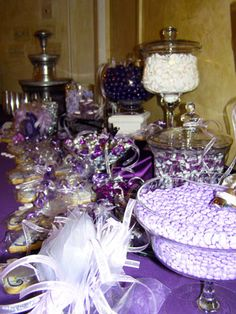Great Purple theme running through their candy buffet