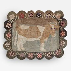 Cow Hooked Rug with Rare Scalloped Edge, Pennsylvania, Circa 1900 by