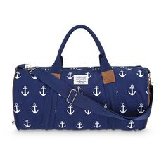 bbcba6c413e07 Sloane Ranger s fully lined canvas navy anchor duffle is a classic yet  modern bag that is